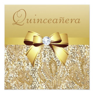 "Gold Sequins, Bow & Diamond Quinceanera 5.25"" Square Invitation Card"