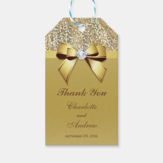 Gold Sequins Bow Diamond Wedding Pack Of Gift Tags