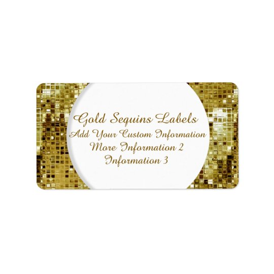 Gold Sequins Return Address Labels
