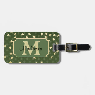 Gold Shamrock Background Monogram Luggage Tag