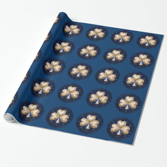 Gold Shamrock On Blue Wrapping Paper