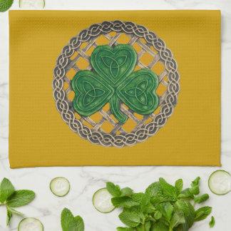 Gold Shamrock On Celtic Knots Kitchen Towel