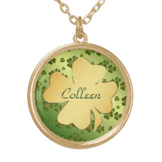 Gold Shamrock with Green Shamrock Background Gold Plated Necklace