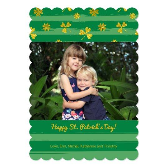 Gold Shamrocks Photo St. Patrick's Day Card