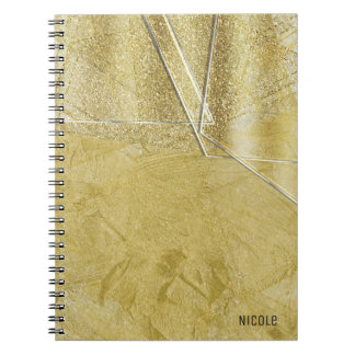 Gold Shimmer Crystal Glass Glam Designer Style Notebooks