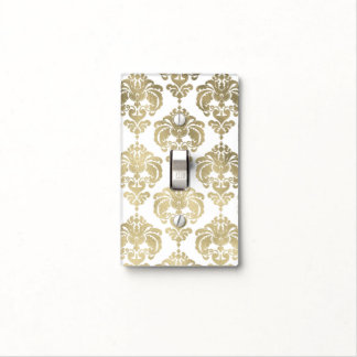 Gold Shine & White Glam Pattern Modern Chic Light Switch Cover