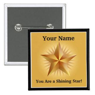 Gold Shining Star Custom Button