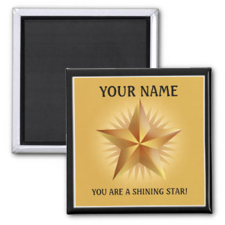 Gold Shining Star Custom Magnet