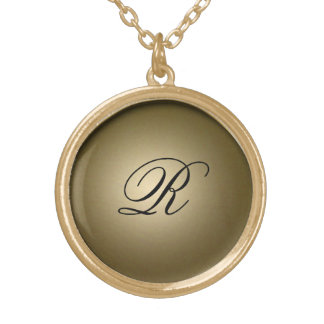 Gold Shiny Initial Round Pendant Necklace