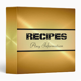 Gold Shiny Stainless Steel Metal 3 Ring Binders