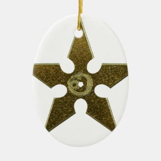 Gold Shuriken with Gold Dragon Ceramic Oval Ornament