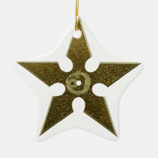 Gold Shuriken with Gold Dragon Ceramic Star Ornament