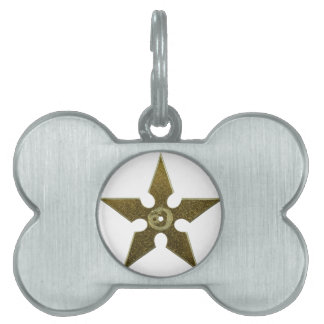 Gold Shuriken with Gold Dragon Pet ID Tags