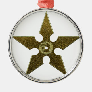 Gold Shuriken with Gold Dragon Silver-Colored Round Ornament