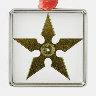 Gold Shuriken with Gold Dragon Silver-Colored Square Ornament