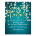 Gold Signature Cocktail Drink Menu Wedding Decor