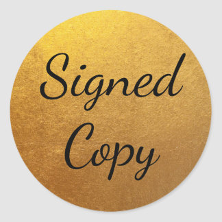 Gold Signed Copy Round Sticker