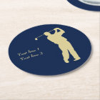 Gold Silhouette Golfer on Blue Round Paper Coaster
