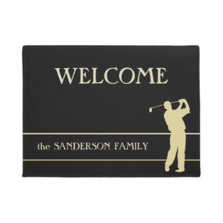Gold Silhouette Golfer Welcome Doormat