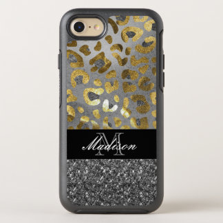 Gold Silver Animal Print Monogram Otterbox Cases