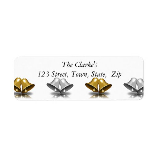 Gold Silver Bells Christmas Return Address Labels