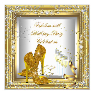 """Gold Silver Birthday Party High Heel Champagne 5.25"""" Square Invitation Card"""