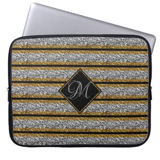 Gold SILVER Black Glitter Straps Monogrammed Laptop Sleeve
