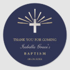 Gold Silver & Blue | Baptism Thank You Classic Round Sticker