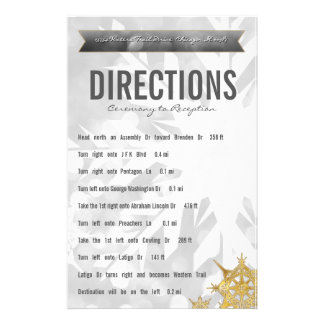 Gold & Silver Bride & Groom Snowflake Directions Stationery Design