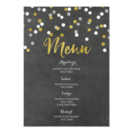 Gold Silver Chalkboard Confetti Wedding Menu Card
