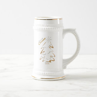 Gold & Silver Christmas Tree Beer Stein
