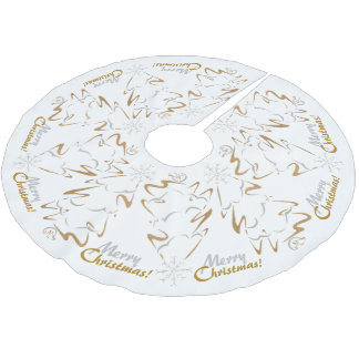 Gold & Silver Christmas Tree Brushed Polyester Tree Skirt