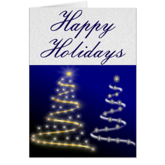 Gold & Silver Christmas Trees - Greeting Card