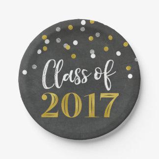 Gold Silver Confetti Chalkboard Graduation 2017 7 Inch Paper Plate