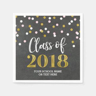 Gold Silver Confetti Class of 2018 Graduation Paper Napkins