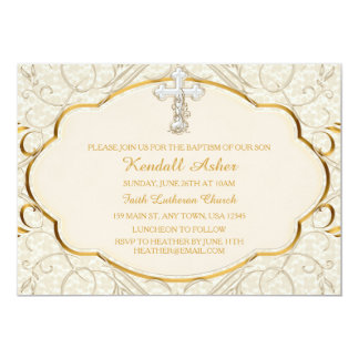 Gold & Silver Cross Baptism Christening Invitation