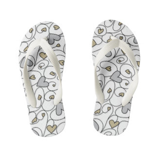 Gold & silver curly hearts kid's flip flops