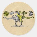 Gold & Silver Dragons Round Sticker