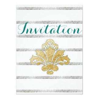 Gold/Silver Leaf Damask Engagement Invitation Teal