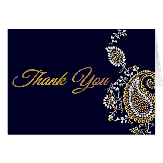 Gold Silver Paisley Hindu Wedding Thank You Card