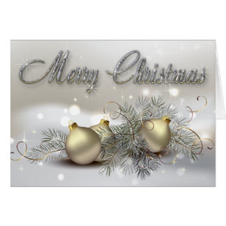 Gold & Silver Shimmer Christmas Ornaments Greeting Cards