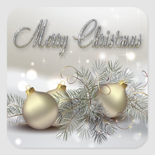 Gold silver shimmer christmas ornaments square sticker for Small gold christmas ornaments