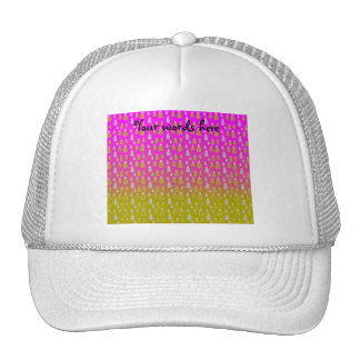 Gold silver snowmen on pink gold fade mesh hats
