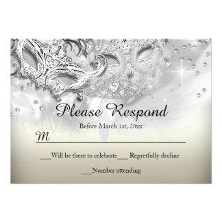 Gold Silver Sparkle Masquerade RSVP Reply Custom Invitations