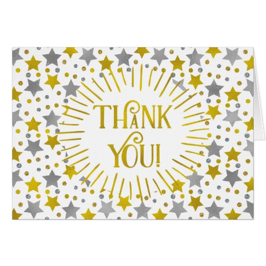 Gold Silver Stars Thank You Card