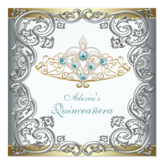 "Gold Silver Teal Tiara Quinceanera 5.25"" Square Invitation Card"