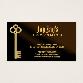 Gold Skeleton Key Brown Locksmith Business Cards