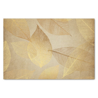 Gold Skeleton Leaves and Bronze Look Tissue Paper