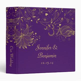 Gold Sketched Flowers on Dark Purple Photo Album 3 Ring Binder