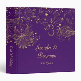 Gold Sketched Flowers on Dark Purple Photo Album Binders